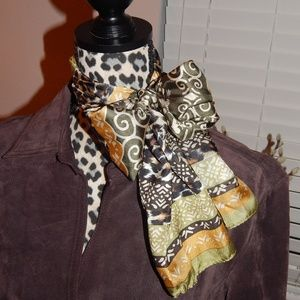 Nicole Miller Silk Green and Yellow Wrap Scarf